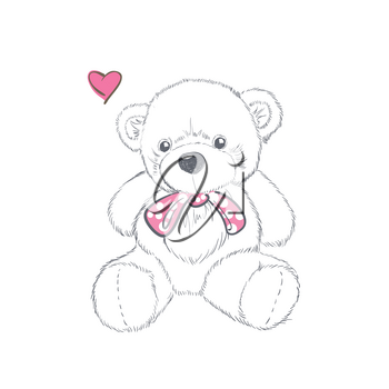 Doodle Illustration with doodle Valentine teddy bear isolated on white background