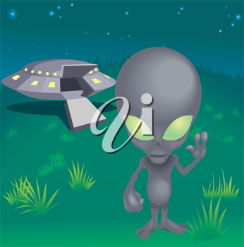 Royalty Free Clipart Image of an Alien and His Spaceship