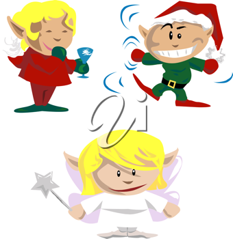 Royalty Free Clipart Image of Elves and Pixies