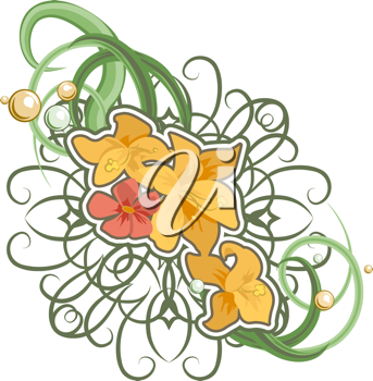 Royalty Free Clipart Image of a Floral Element
