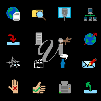 Royalty Free Clipart Image of a Set of Colorful Web Icons