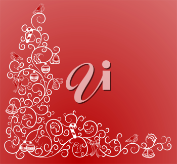 Royalty Free Clipart Image of a Decorative Christmas Background