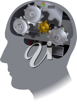 Royalty Free Clipart Image of the Workings of a Brain