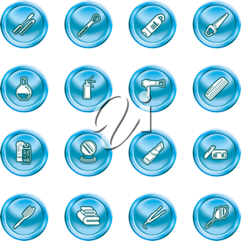 Royalty Free Clipart Image of a Set of Cosmetic Icons