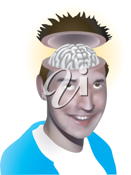 Royalty Free Clipart Image of a Man's Brain Exposed