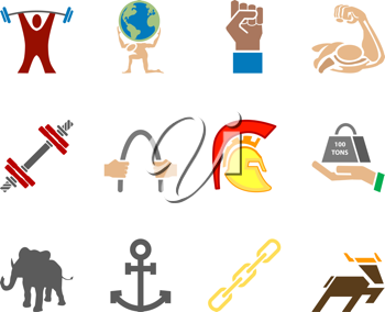 Royalty Free Clipart Image of Icons Relating to Strength