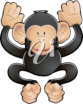 Royalty Free Clipart Image of a Chimpanzee