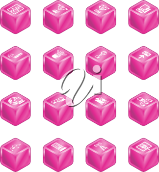 Royalty Free Clipart Image of Cubed Network Icons
