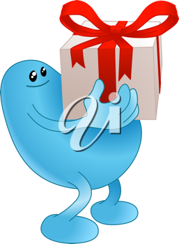 Royalty Free Clipart Image of a Blue Man Carrying a Present