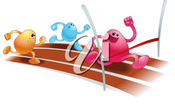 Royalty Free Clipart Image of Beanies Having a Foot Race