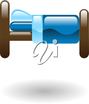 Royalty Free Clipart Image of a Bed Illustration