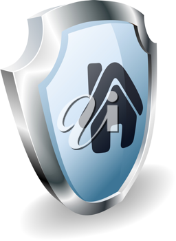 Royalty Free Clipart Image of a House Icon Shield