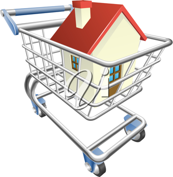 Royalty Free Clipart Image of a House in a Shopping Cart