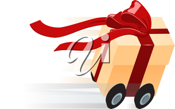 Royalty Free Clipart Image of a Gift Being Delivered