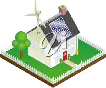 Royalty Free Clipart Image of a Sustainable Renewable Energy House