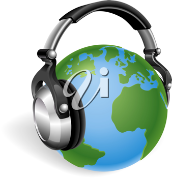 Royalty Free Clipart Image of Planet Earth With Headphones