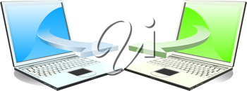 Royalty Free Clipart Image of Laptops Communicating Via Wireless