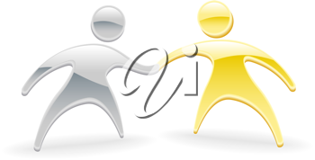 Royalty Free Clipart Image of Two Metallic Characters Shaking Hands