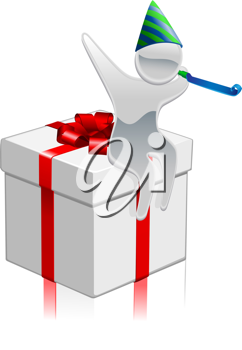 Royalty Free Clipart Image of a Mascot on a Present