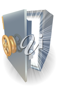 Royalty Free Clipart Image of a Safe Opening