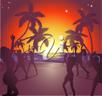 Royalty Free Clipart Image of People Dancing on a Beach