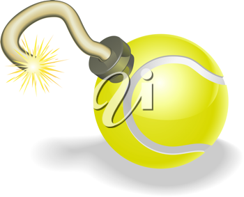 Royalty Free Clipart Image of a Tennis Ball Bomb