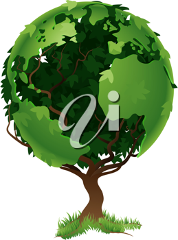 Royalty Free Clipart Image of a Tree Forming a Globe