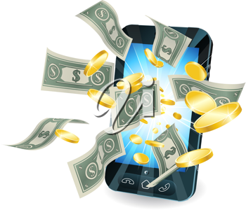 Royalty Free Clipart Image of Money Bursting from a Smartphone Screen