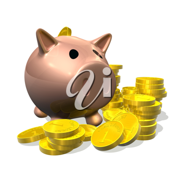 Royalty Free Clipart Image of a Piggy Bank With Coins
