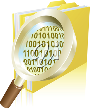 Conceptual illustration of magnifying glass searching binary data file folder