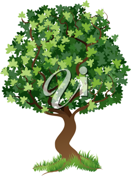 An illustration of a stylised tree with grass around its roots