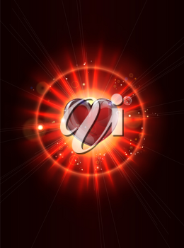 A dynamic funky cool light rays valentines heart illustration