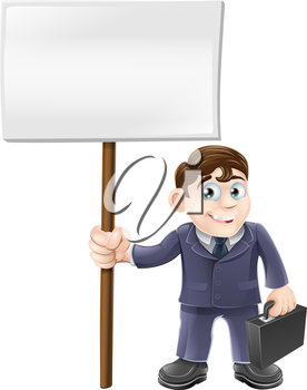 A happy cartoon business man holding briefcase and a sign board