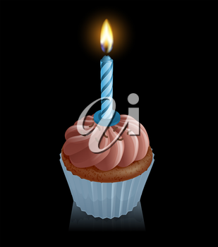 Illustration of chocolate fairy cake cupcake with blue birthday candle