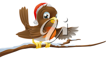 Christmas Robin bird seated on snow covered tree branch with Santa hat on pointing with wing