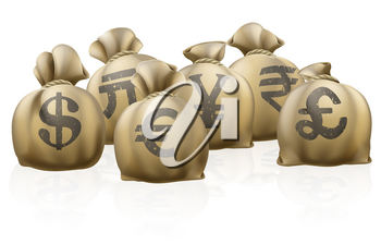 Lots of sacks with different currency signs, foreign currency exchange sacks