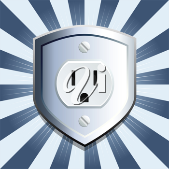 Royalty Free Clipart Image of a Metallic Shield Outlet