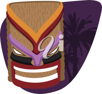 Royalty Free Clipart Image of a Tiki and Palm Tree Silhouette