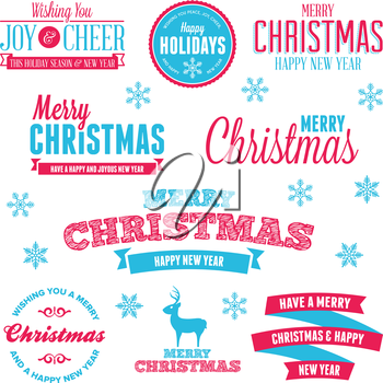 Set of vintage Christmas holiday labels and text graphics