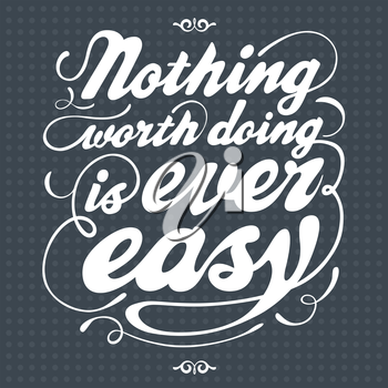 Hand drawn text lettering of an inspirational saying