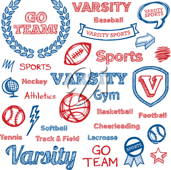 Set of hand drawn school sports text lettering and icons