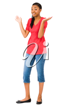 Royalty Free Photo of a Girl Modeling Clothes Doing a Gesture with her Hands