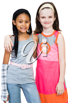Royalty Free Photo of Two Young Girls Modeling Clothing