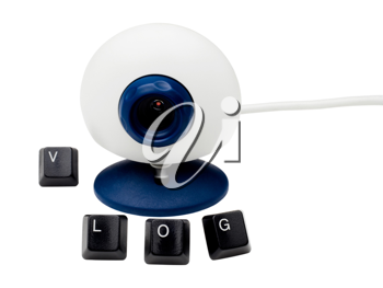 Royalty Free Photo of a Webcam with the Word Vlog in Computer Keys