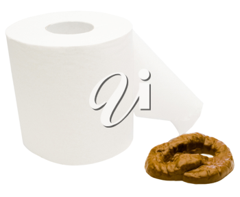 Toilet paper with feces isolated over white