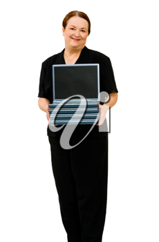 Confident woman holding a stack of laptops isolated over white
