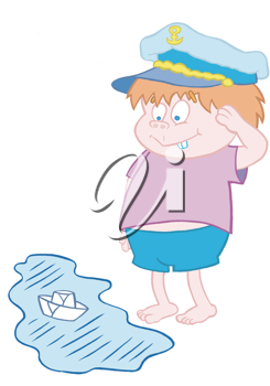 Royalty Free Clipart Image of a Little Boy Saluting a Toy Boat