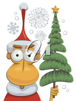 Royalty Free Clipart Image of Santa Claus Holding a Tree