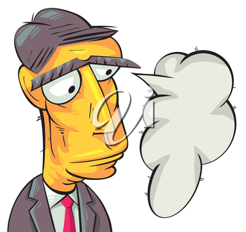 Royalty Free Clipart Image of a Businessman With a Speech Bubble