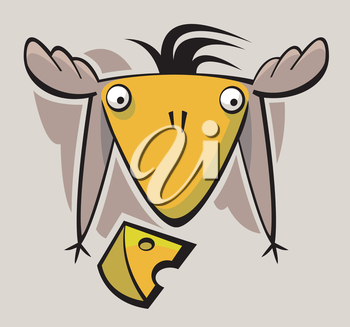 Royalty Free Clipart Image of a Cartoon Bird and Cheese